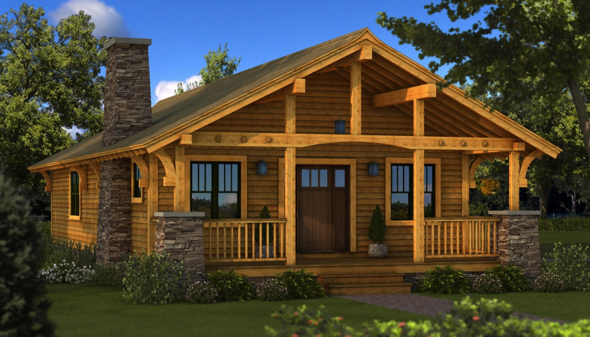 inspiring exterior design of Southland Log Homes with brown wooden door and glass window ideas