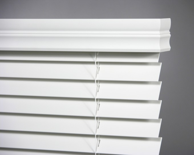 Inspiring Faux Wood Blinds In White Under The White Trim Board Window Matched On Gray Wall For Home Interior Design Ideas