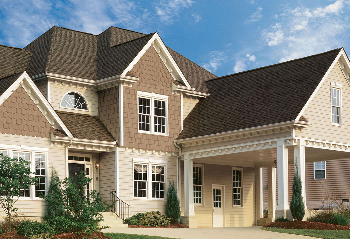 inspiring home exterior design with hardie plank siding in white and single hung windows plus tan shingle siding ideas