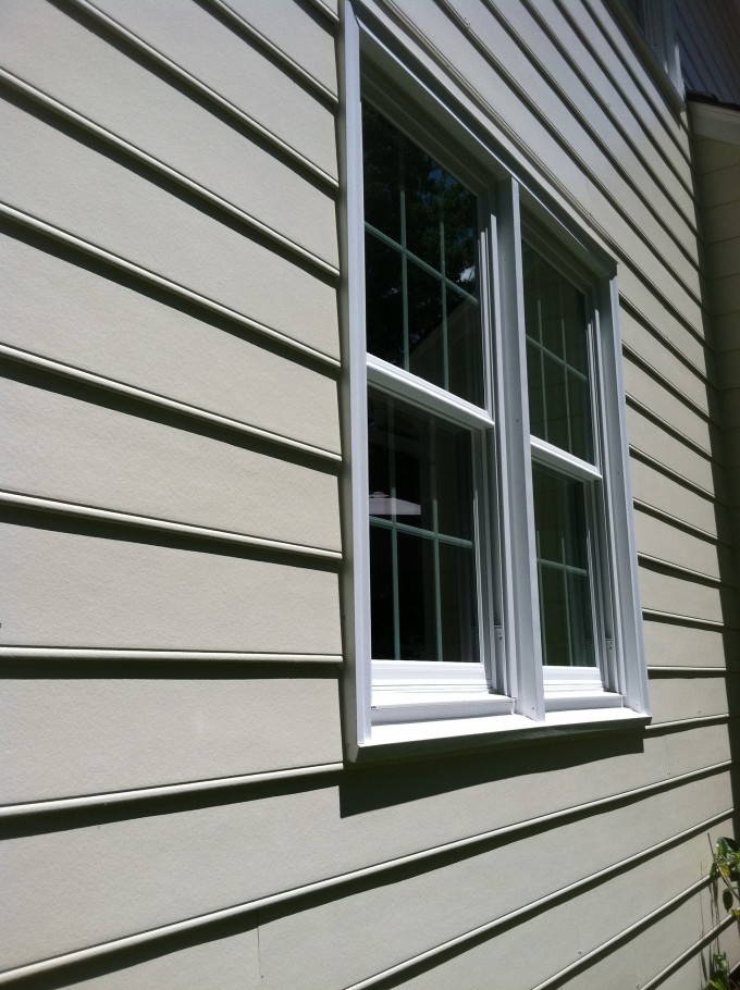 Inspiring Home Exterior Design With Horizontal Hardie Plank Siding In White With Single Hung Window With Trim Board Ideas