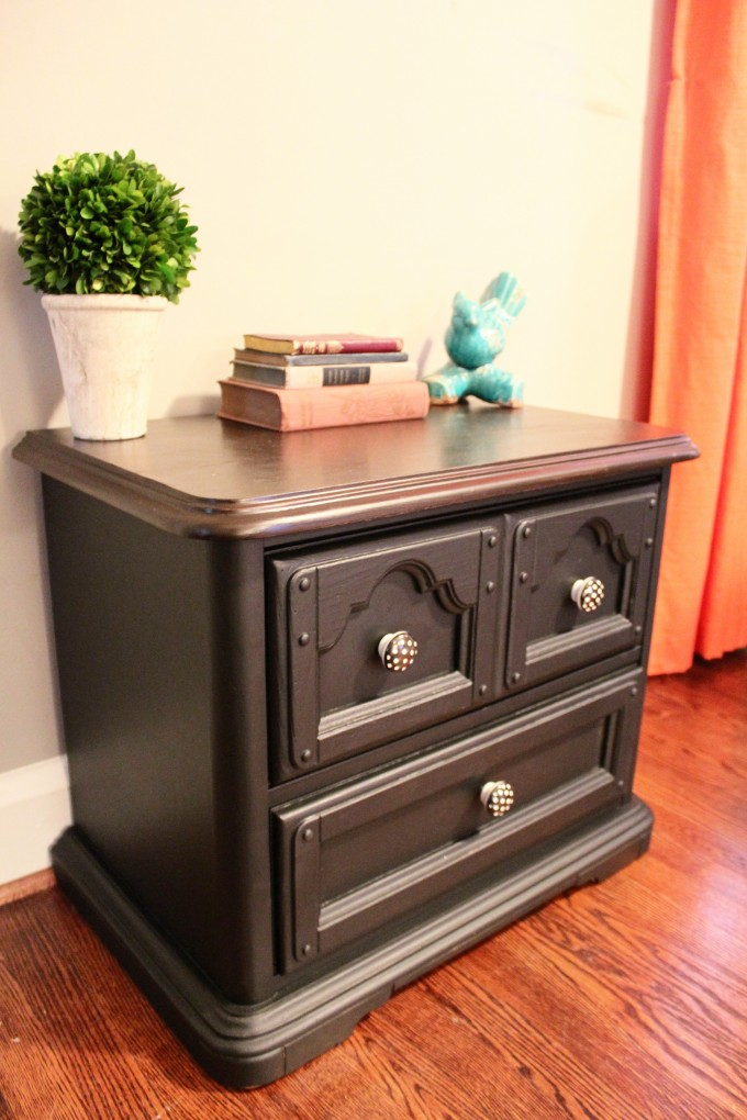Inspiring Small Wooden Table Using General Finishes Java Gel Stain With Triple Drawers For Home Furniture Ideas