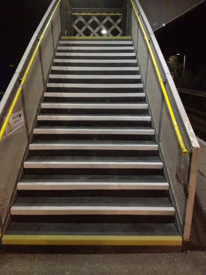 Inspiring Stair With Non Slip Stair Treads And Metal Railing Ideas