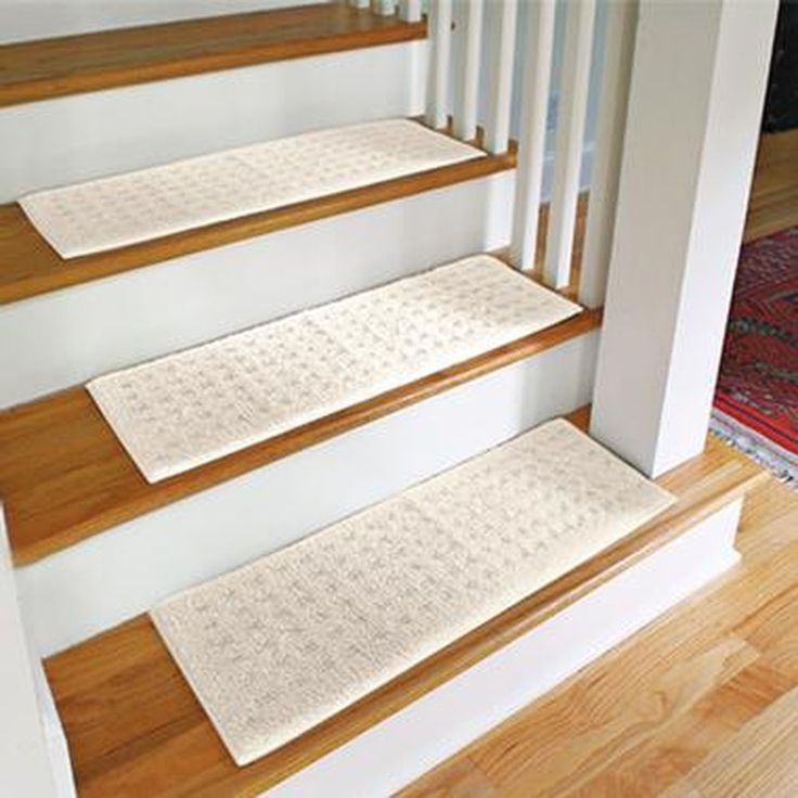 Inspiring White Non Slip Stair Treads On Wooden Stepping Stair Matched With White Railing For Home Ideas