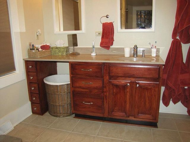 inspiring wooden bathroom cabinet using general finishes java gel stain in brown with granite tops for bathroom furniture ideas