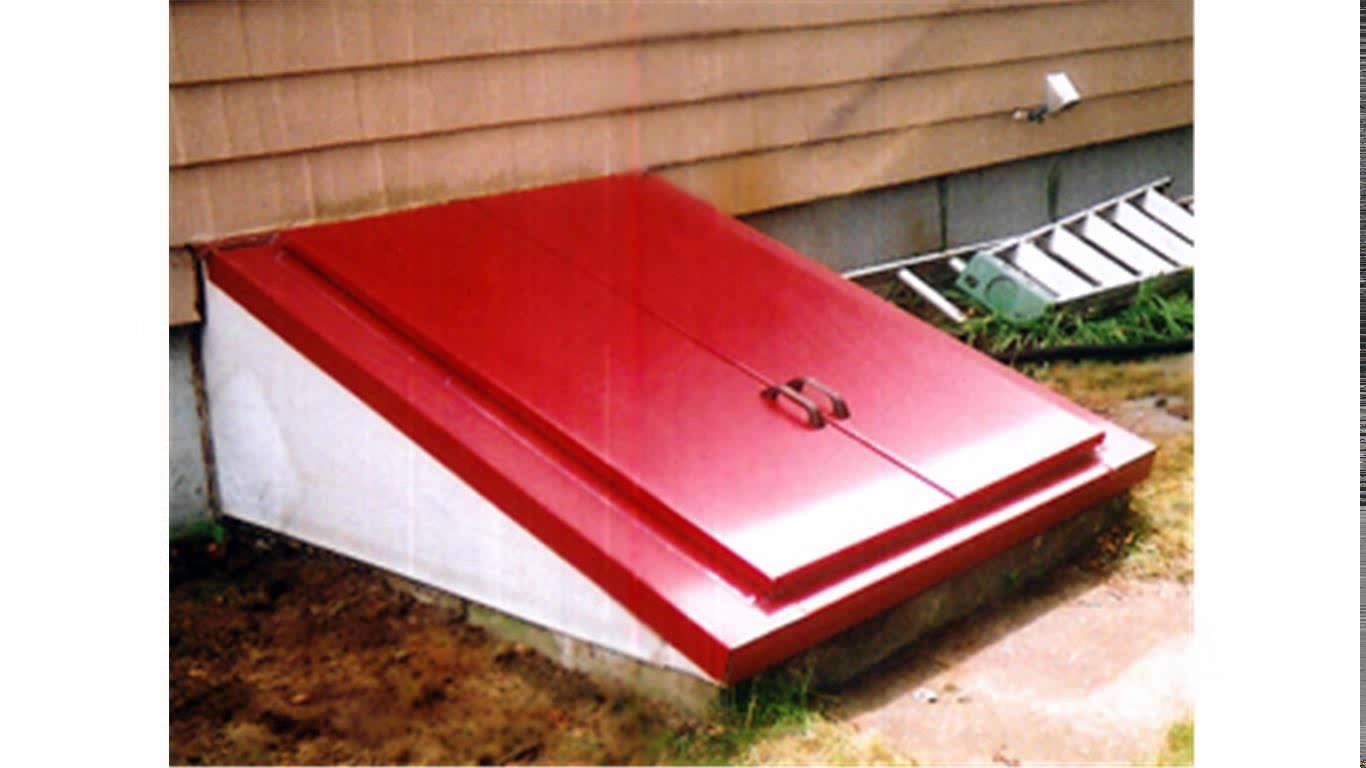interesting cellar bilco doors in red before the horizontal siding for home exterior design ideas