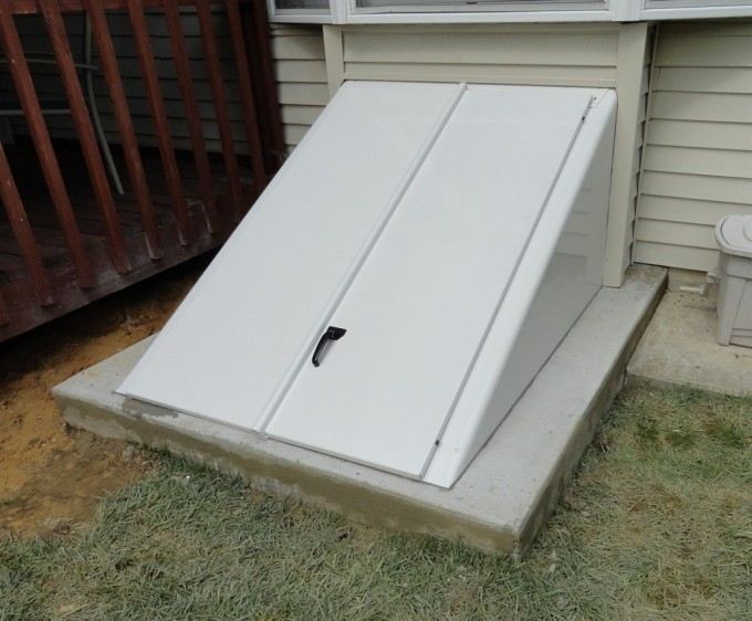 Interesting Cellar Bilco Doors In White With Black Handle For Home Exterior Design Ideas
