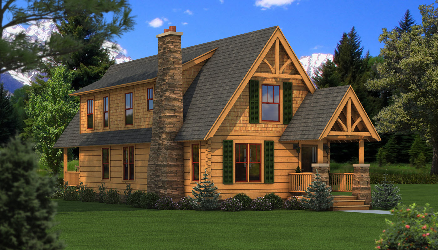 interesting exterior design of Southland Log Homes with gray roof and natural stone chimney plus railing ideas