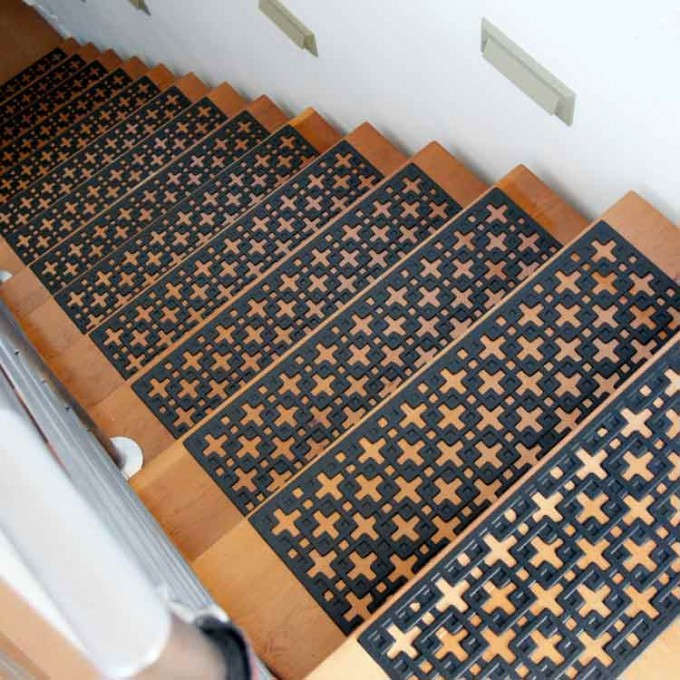Interesting Non Slip Stair Treads In Black On Wooden Stepping Stair Matched With White Stair Railing For Stair Ideas
