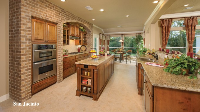 Interesting Tilson Homes Kitchen With Wooden Kitchen Cabinet On Beige Tile Floor Plus Dining Table Set Ideas