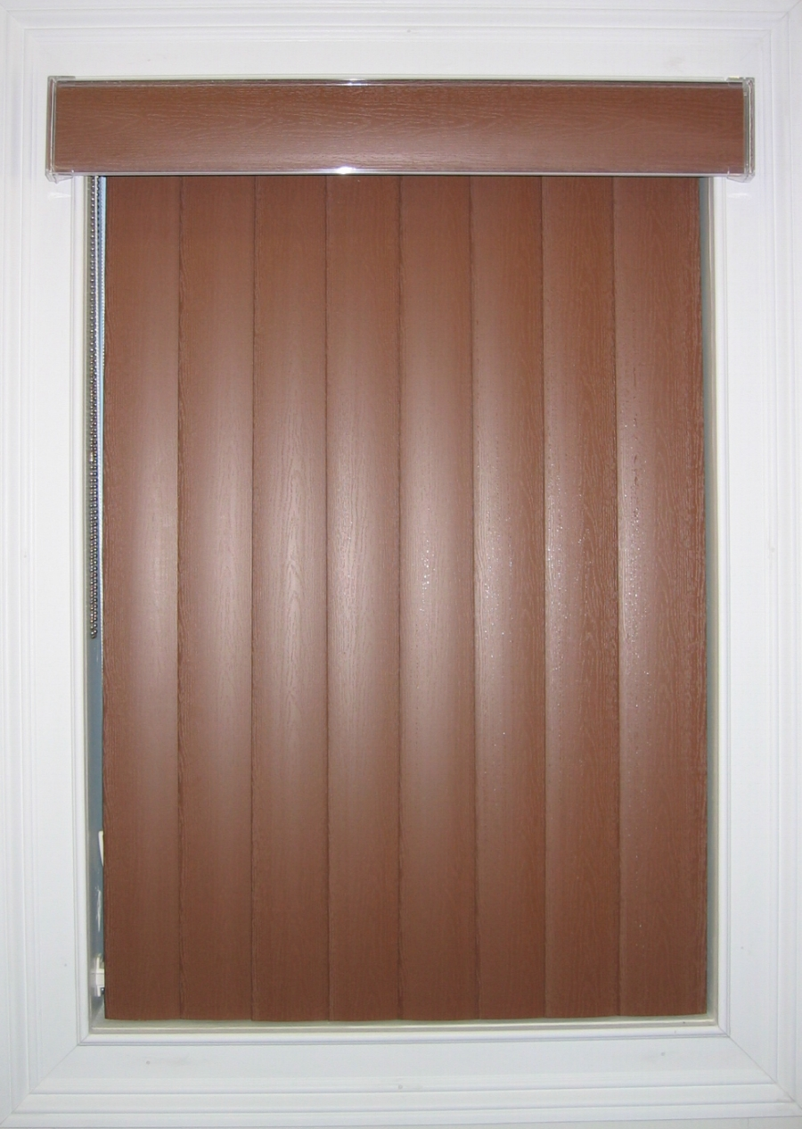 interesting vertical faux wood blinds in brown for window decor ideas