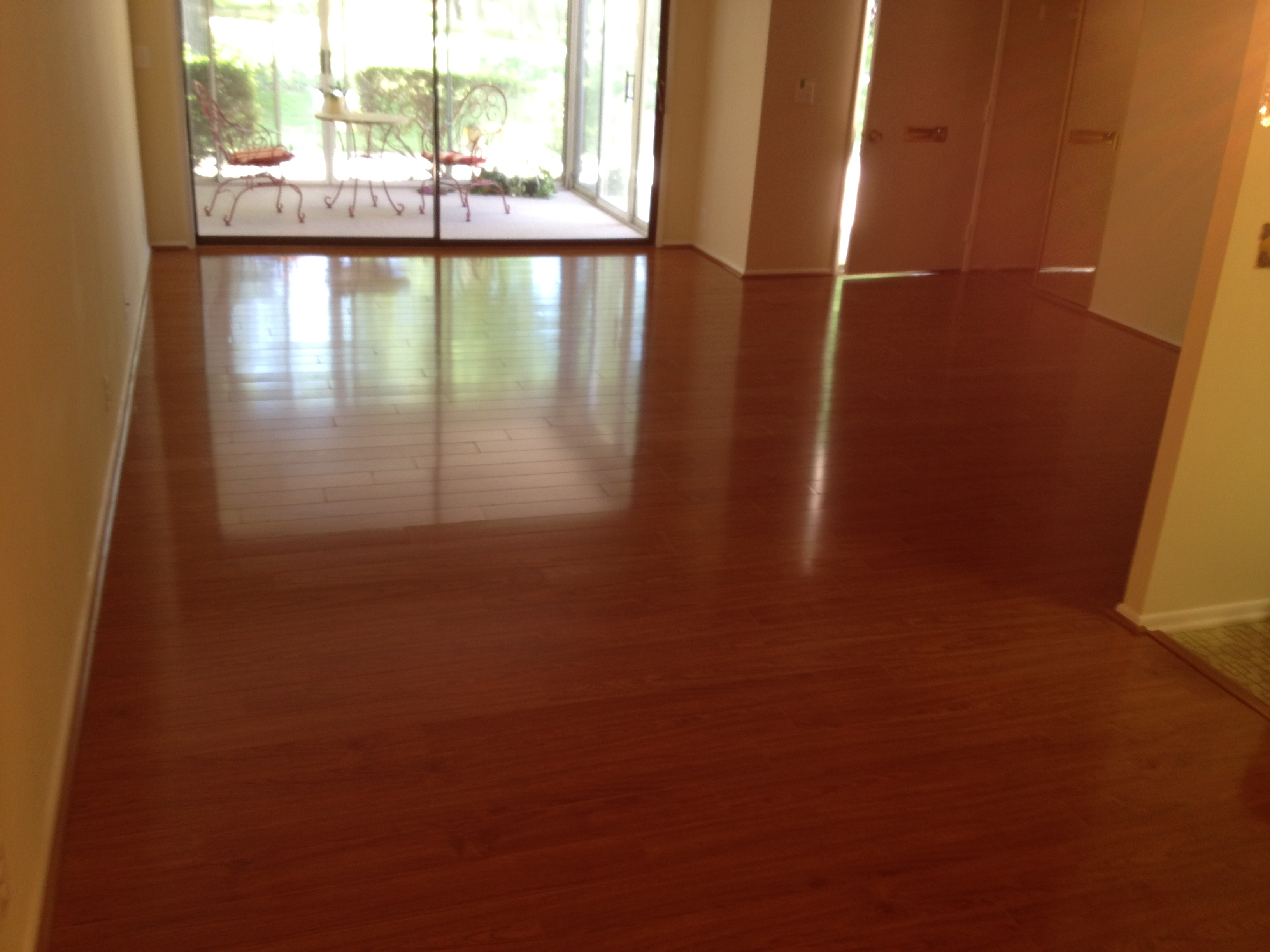 Interesting Wooden Floor By Konecto Matched With Yellow Wall And Glass Door For Home Interior Design Ideas