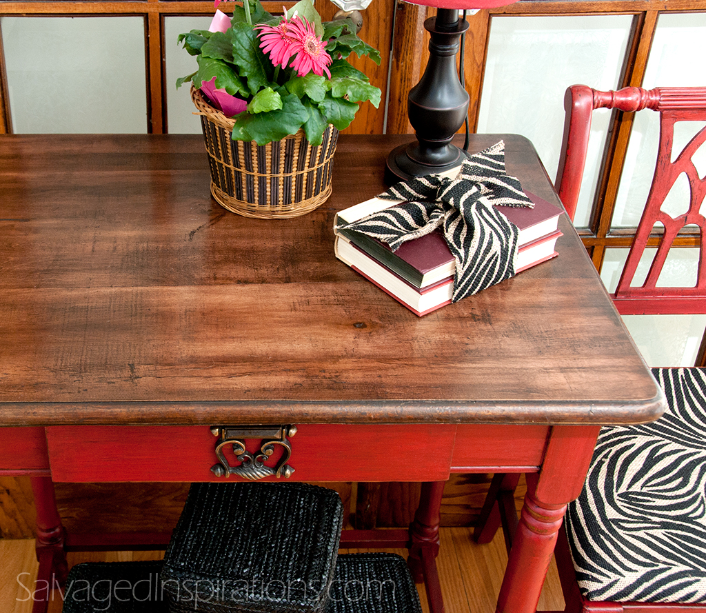 interesting wooden table using general finishes java gel stain with red stand for home furniture ideas