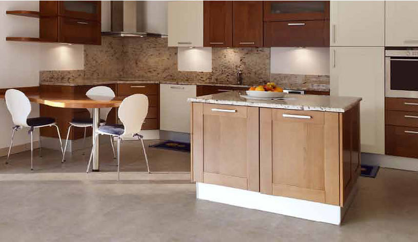kitchen island with countertop plus coffee table set on beige tile floor by Konecto for kitchen decor ideas