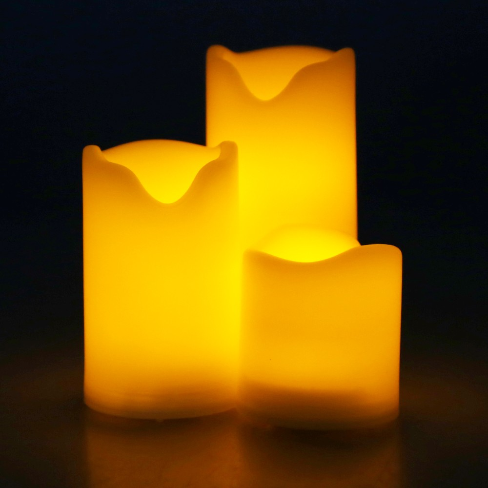 Kohree Wireless Ivory flameless candles with timer set in three for home decoration