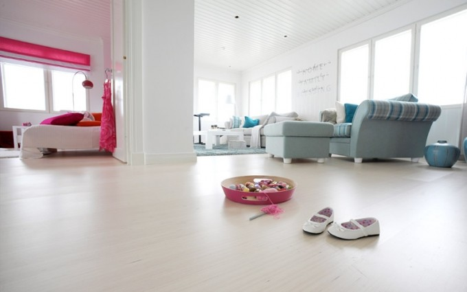 Laminate Flooring By Konecto Matched With White Wall Plus Sofa Set For Living Room Decor Ideas