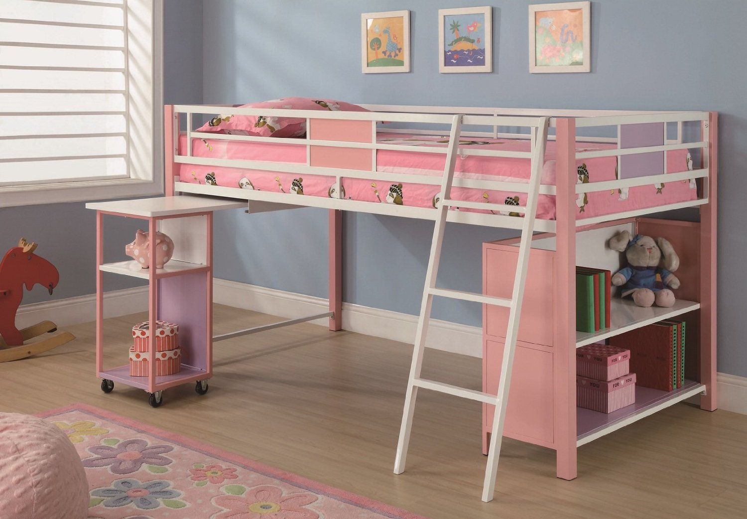 lovable loft beds for teenagers in white and pink theme with shelves on  wooden floor with. Bedroom  Fancy Loft Beds For Teenagers In White With Desk And