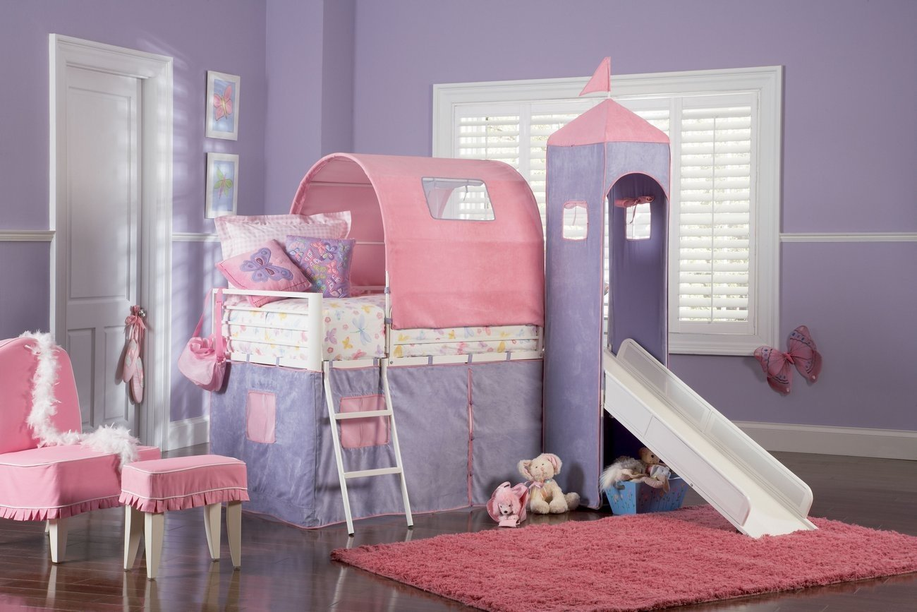lovely Bunk Beds With Stairs in castle design and purple and pink theme on wooden floor matched with purple wall plus pink rug for kids bedroom decor ideas