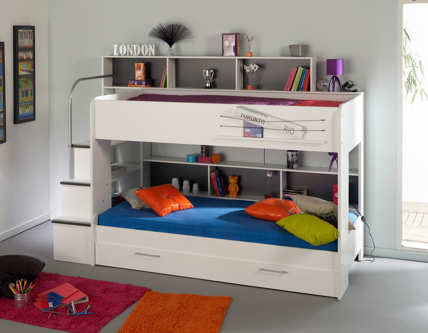 lovely Bunk Beds With Stairs in white with storage on gray tile floor matched with gray wall plus lovely rug for teen bedroom decor ideas