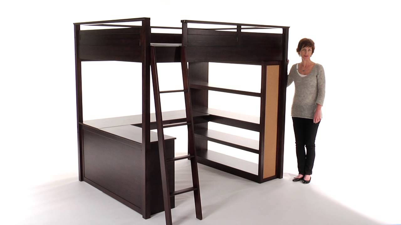 lovely dark brown wood loft beds for teenagers with desk and shelves plus stair for teenager bedroom furniture ideas