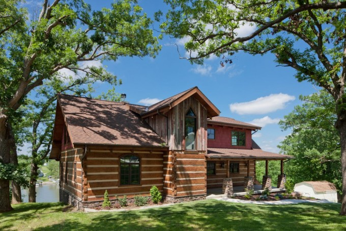 Lovely Exterior Design Of Southland Log Homes With Glass Window And Brown Roof Ideas