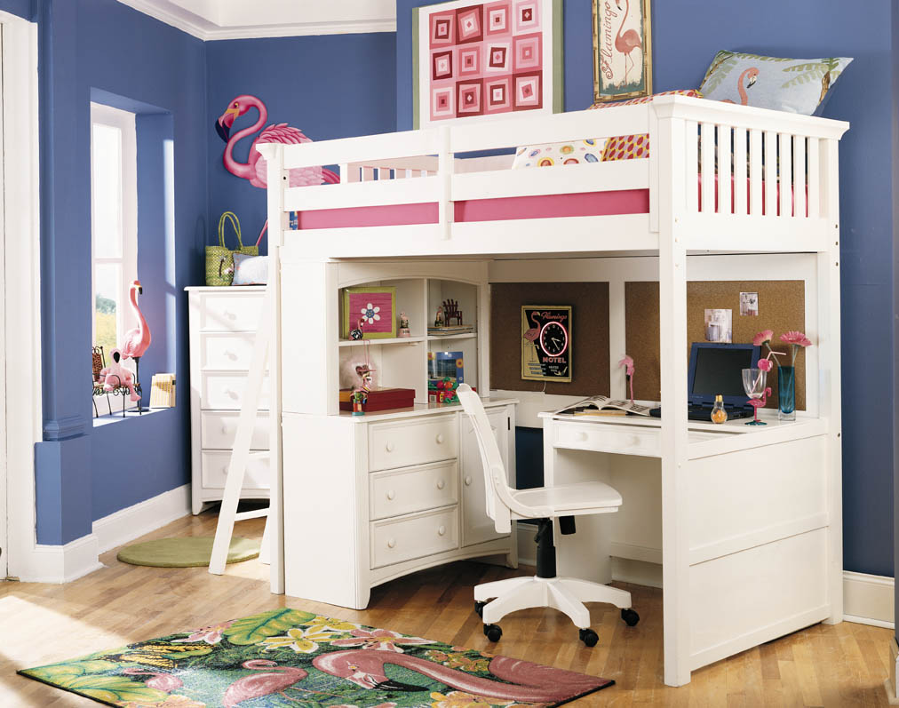 lovely girl bedroom decoration with white loft beds for teenagers with desk and rack before the blue wall matched with wooden floor ideas