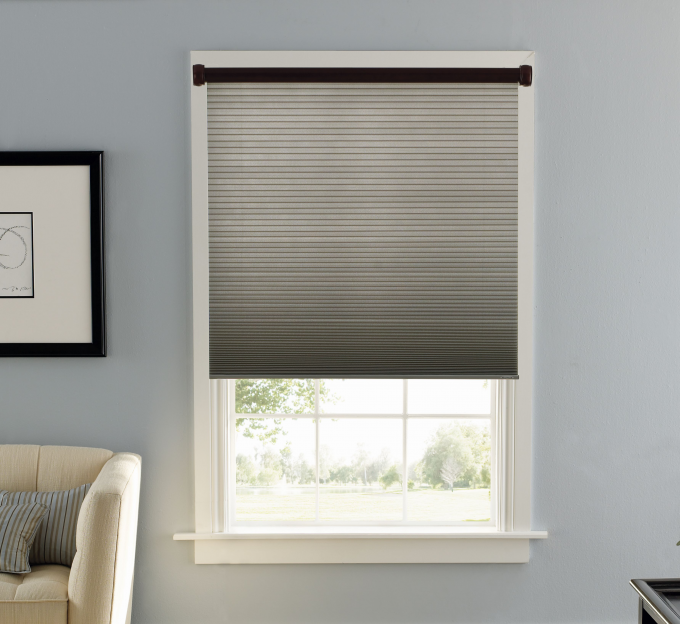Lovely Gray Levolor Cellular Shades On Single Hung Window For Home Interior Design Ideas