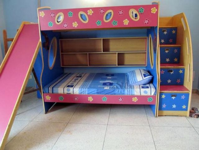 lovely kid Bunk Beds With Stairs in colorful design before the blue wall matched with white tile floor for kids bedroom decor ideas