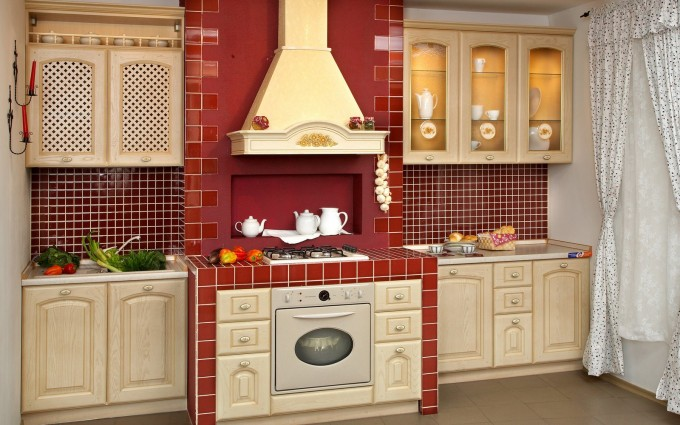 Lovely Kitchen American Woodmark Cabinets In Antique White With Granite Countertop And Red Tile On Stove Area Plus Red Tile Backsplash For Kitchen Decor Ideas