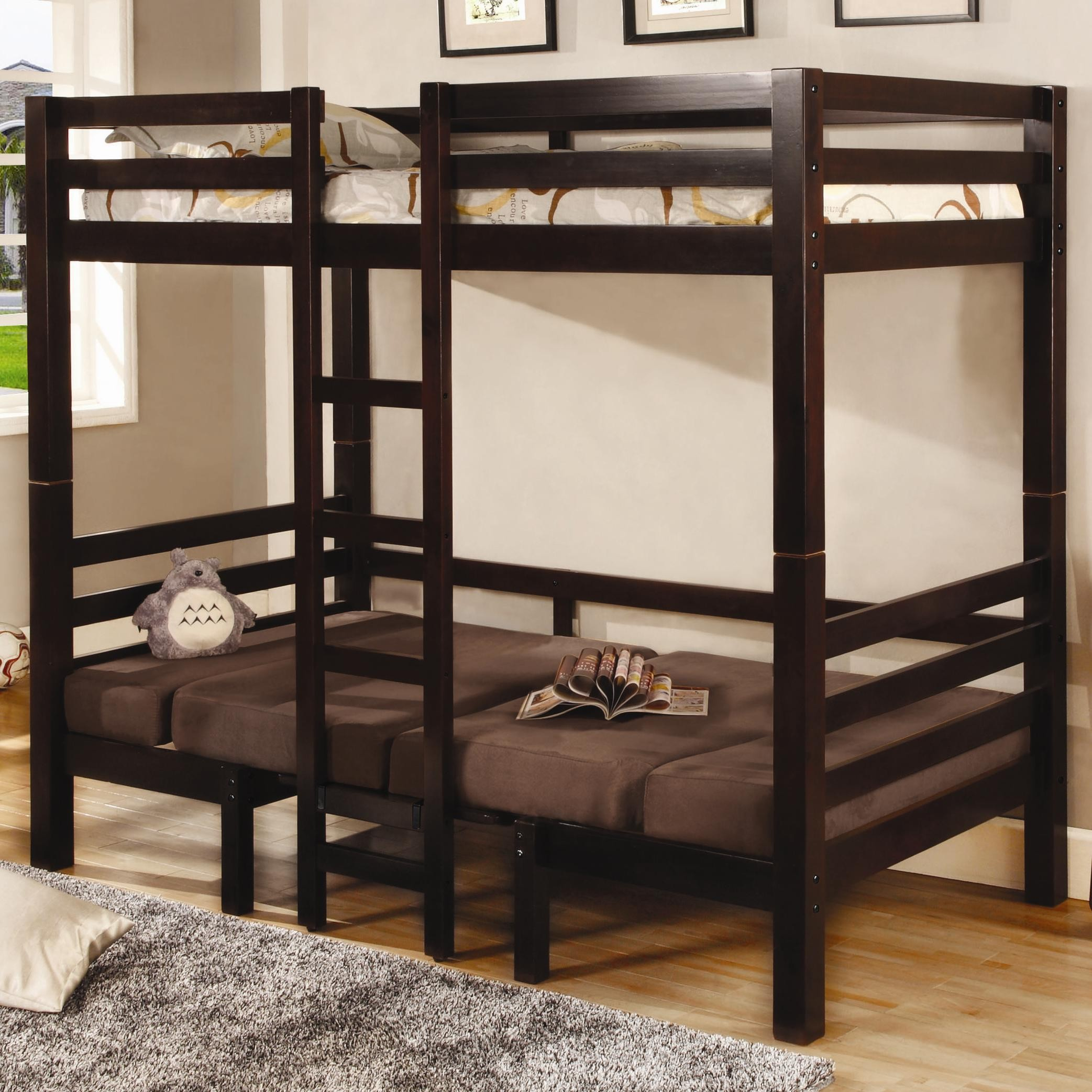 lovely loft beds for teenagers in brown with stair on wooden floor with gray rug matched with beige wall with picture and white window for teenager bedroom decor ideas