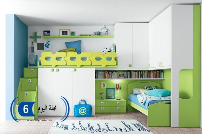 Lovely Loft Beds For Teenagers In Green And White Theme With Drawers And Wardrobe Plus Book Shelf And Table Standing Lamp For Teen Bedroom Decor Ideas