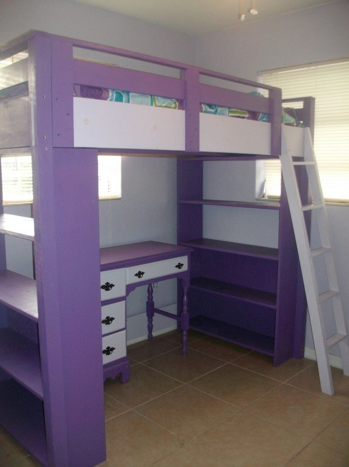 Lovely Loft Beds For Teenagers In Purple And White Theme With Desk And Shelves On Brown Tile Floor Matched With White Wall For Girl Bedroom Decor Ideas