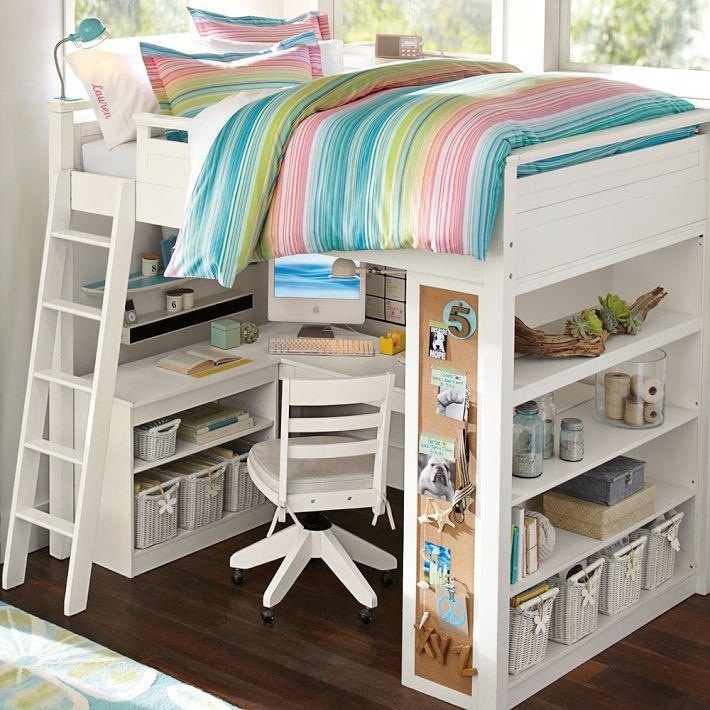 Lovely Loft Beds For Teenagers In White With Colorful Stripped Bedding And Desk Plus Helves On Wooden Floor Matched With White Wall For Teenager Bedroom Decor Ideas