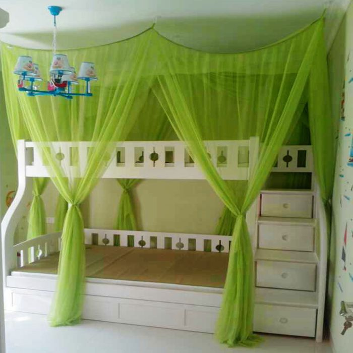 lovely loft beds for teenagers in white with green curtain plus chandelier for teen bedroom decor ideas