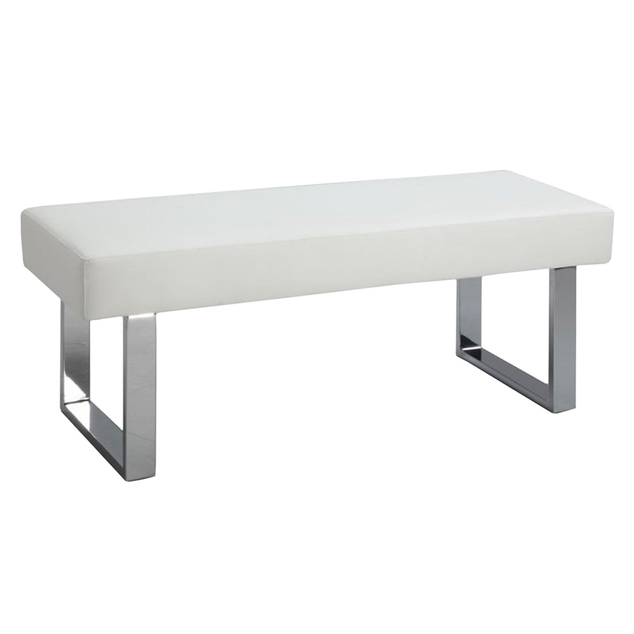 lovely Louden Dining Bench in white with silver metal legs by eurway furniture for home furniture ideas