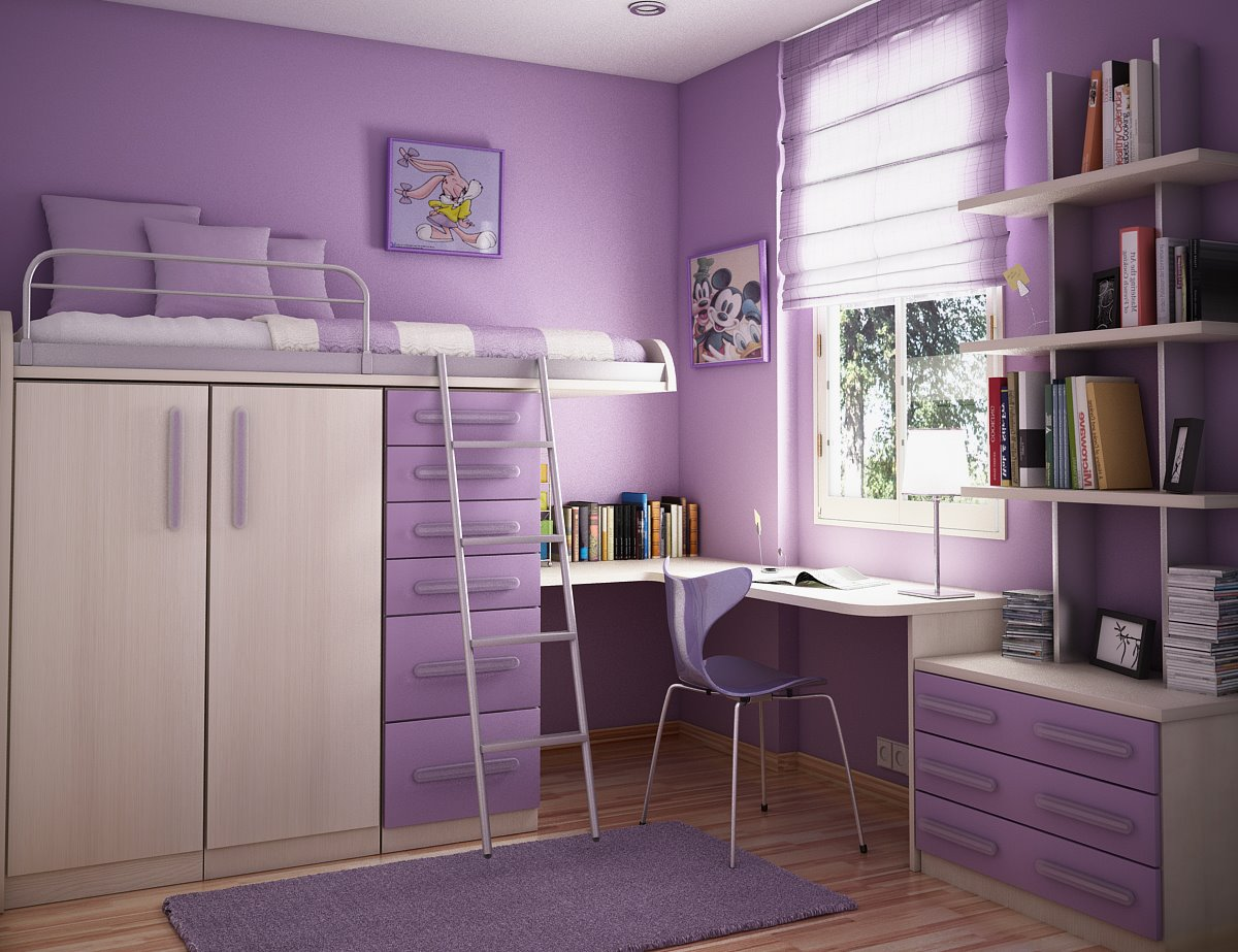 lovely purple girls bedroom decor with loft beds for teenagers with drawer and desk ideas