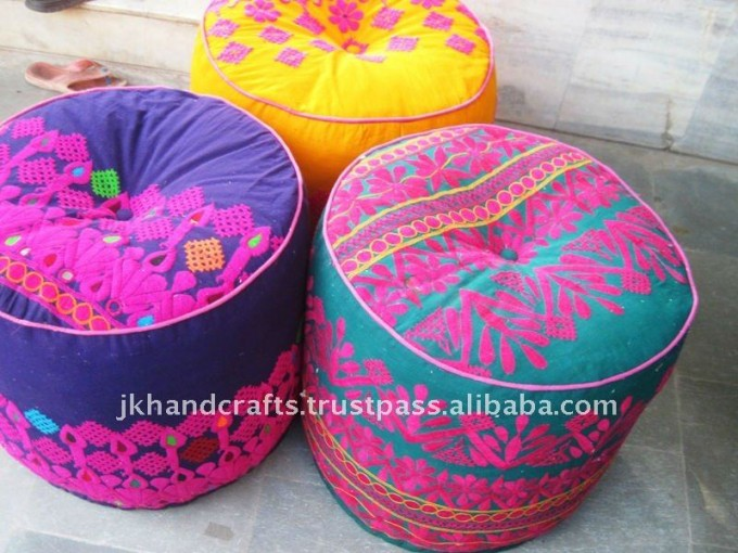 Lovely Round Pouf Ottoman With Colorful Design For Home Furniture Ideas