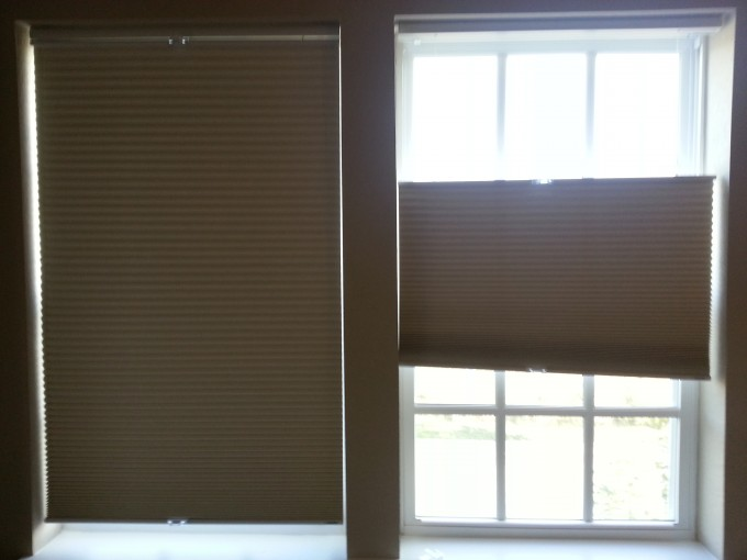 Lovely Tan Levolor Cellular Shades Covering The Glass Window For Home Design Ideas
