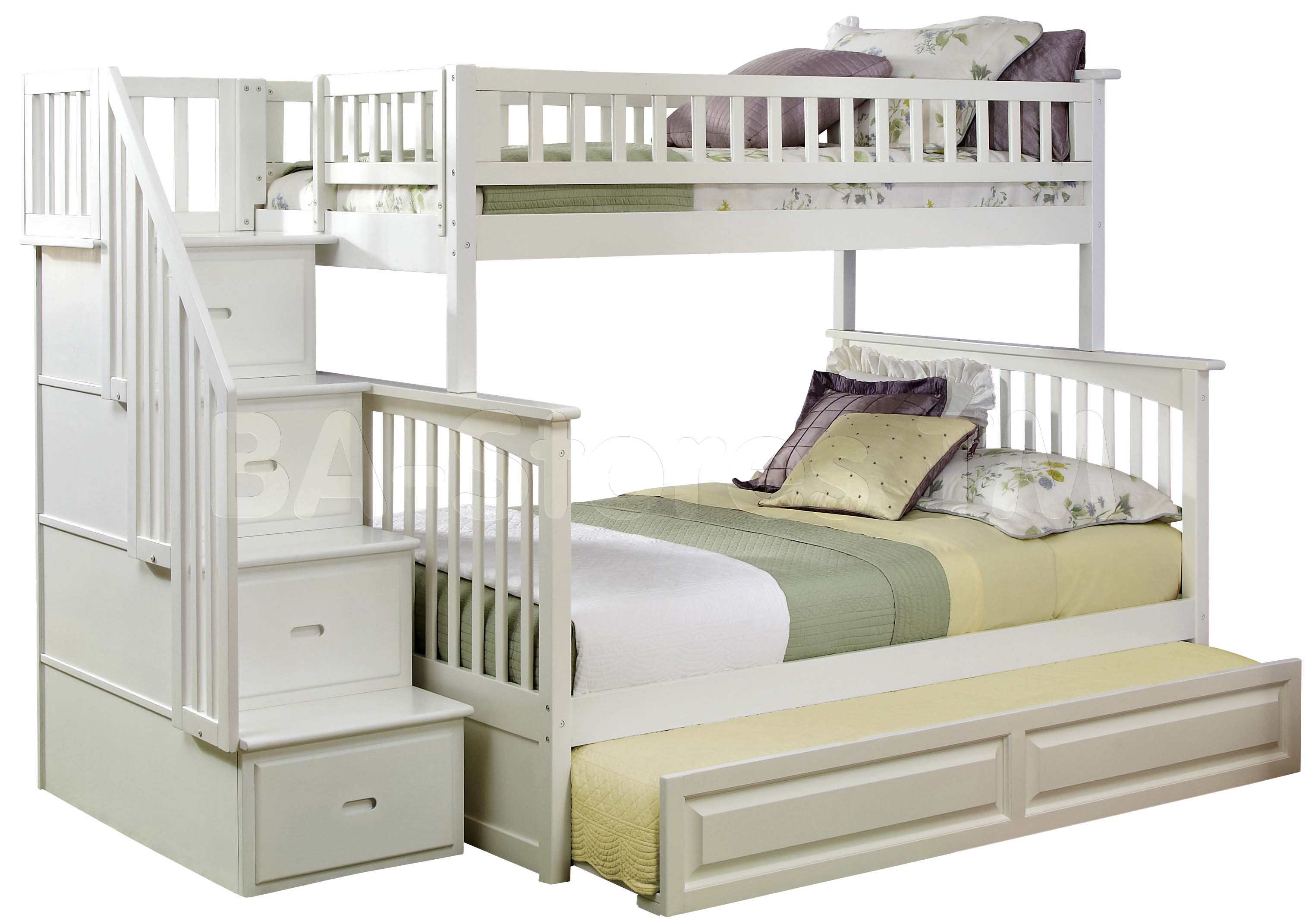 lovely white wooden Bunk Beds With Stairs and drawers plus lovely bedding for teen bedroom decor ideas