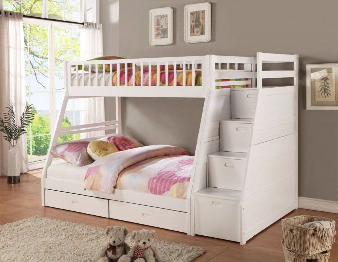 Lovely Wood Bunk Beds With Stairs In White With Drawers And Lovely Bedding Before The Gray Wall Matched With Wooden Floor With Gray Rug For Girl Bedroom Decor Ideas