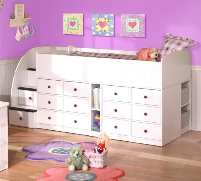 Lovely Wood Bunk Beds With Stairs In White With Storage On Wooden Floor Matched With Purple Wall With Pictures For Kids Bedroom Decor Ideas