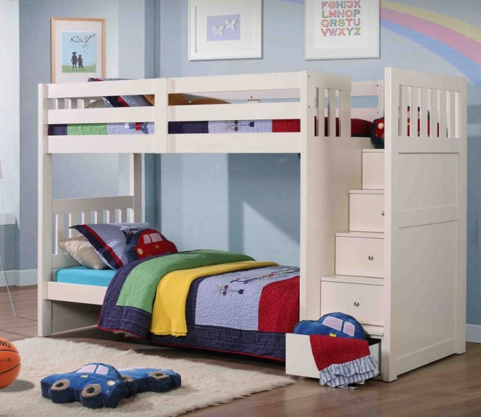 Lovely Wooden Bunk Beds With Stairs In White On Wooden Floor Matched With Blue Wall For Boy Bedroom Decor Ideas