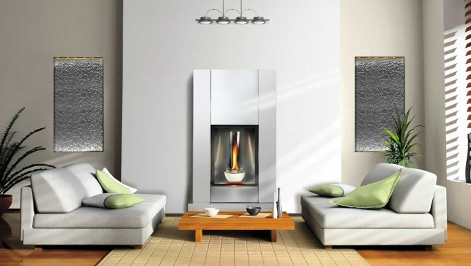 Luxury Electric Napoleon Fireplace On White Wall Matched With Wooden Floor With Rug And Sofa Set For Living Room Decor Ideas