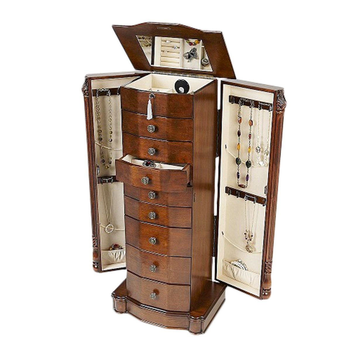 Luxury Wooden Standing Mirror Jewelry Armoire In Chestnut Brown With Drawers For Home Decor Ideas
