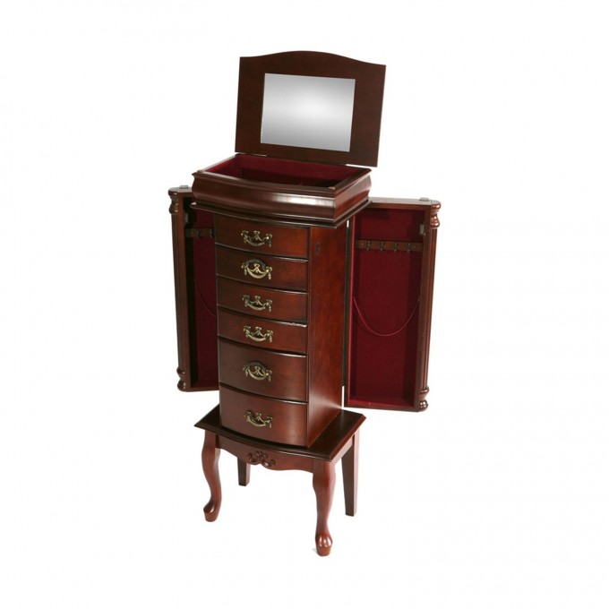 Luxury Wooden Standing Mirror Jewelry Armoire In Dark Brown With Drawers For Home Decor Ideas