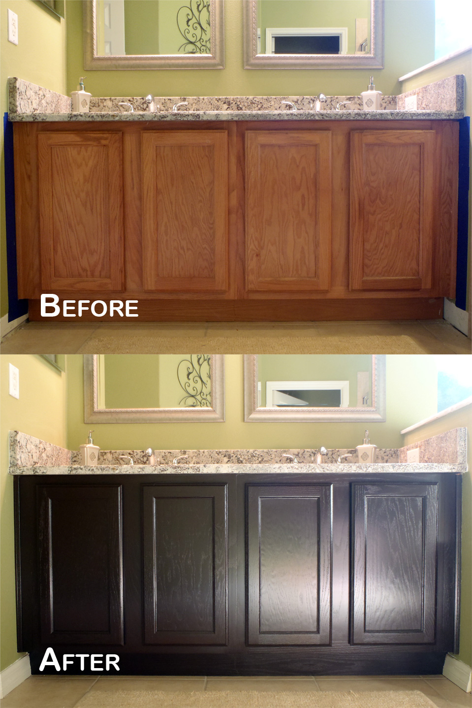 makeover bathroom cabinet using minwax gel stain to get prettier look