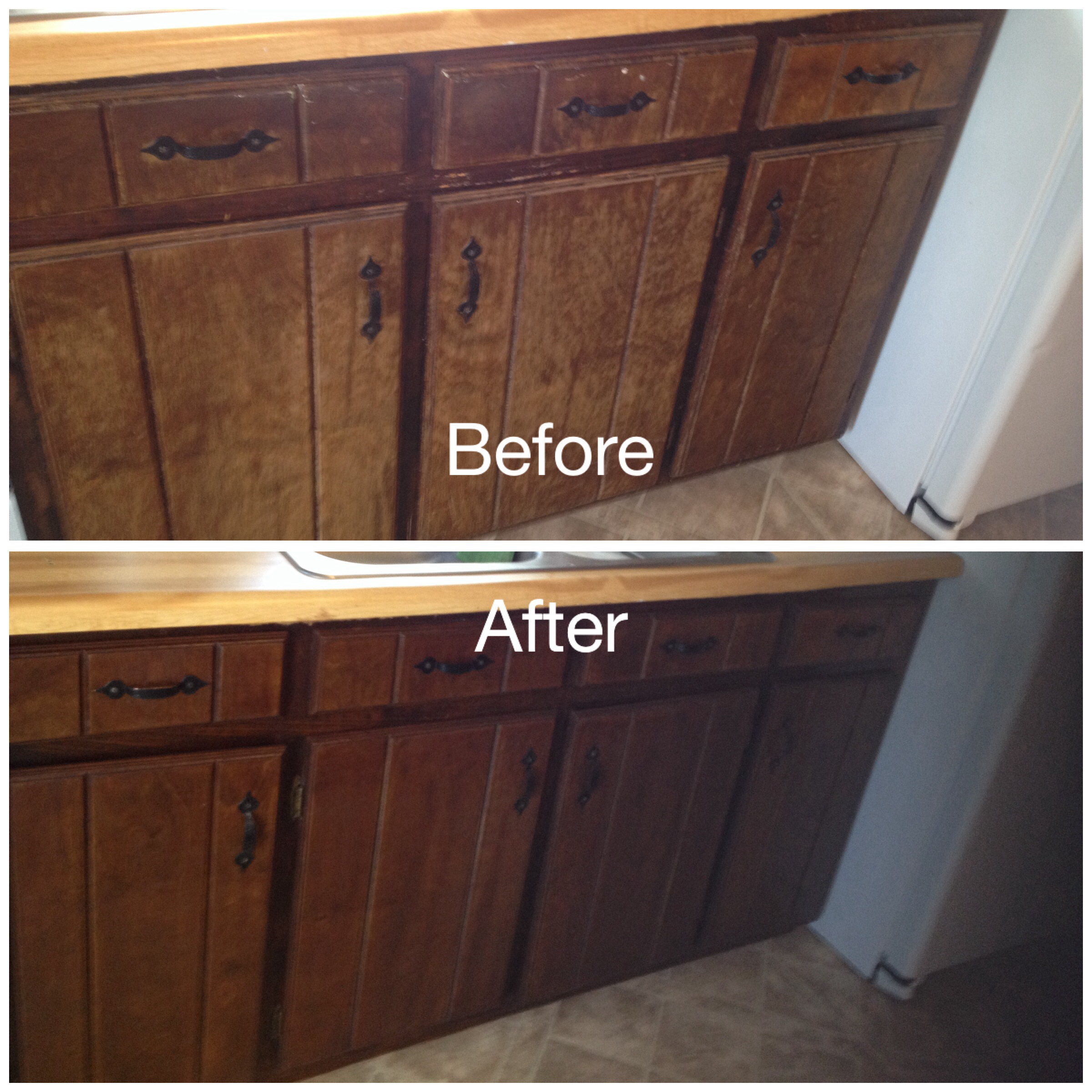 makeover the bathroom cabinet with minwax gel stain to get prettier look