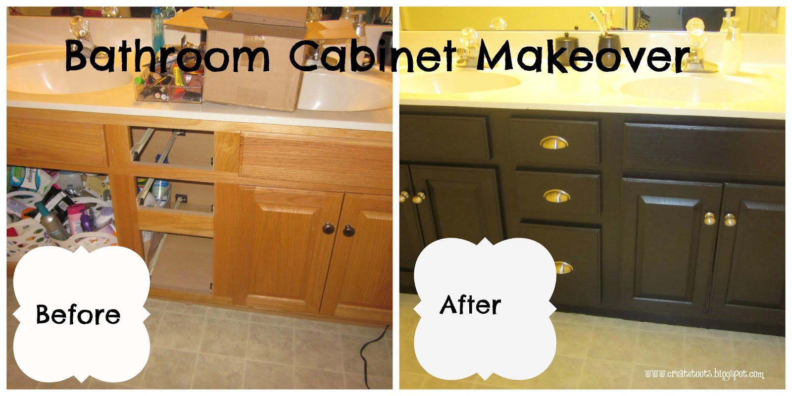 makeover wooden bathroom cabinet using black general finishes java gel stain to get prettier look