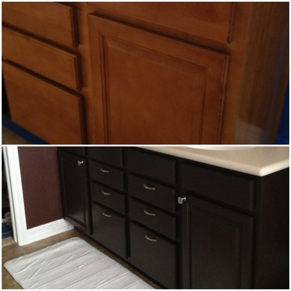makeover wooden bathroom cabinet using general finishes java gel stain in black to get prettier look