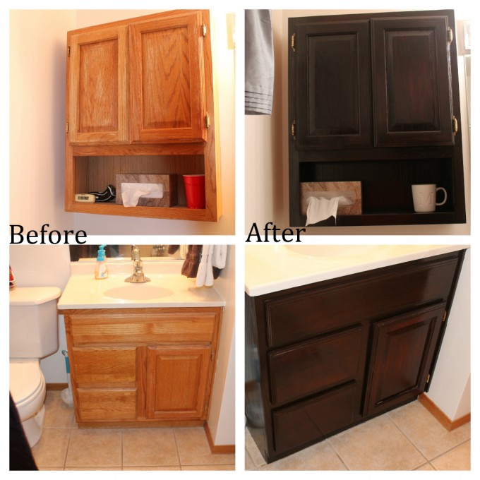 Makeover Wooden Bathroom Cabinet Using General Finishes Java Gel Stain To Get Chicer Lok