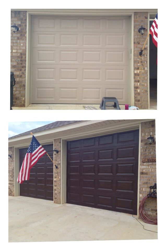 makeover wooden garage door using minwax gel stain to get more charming look